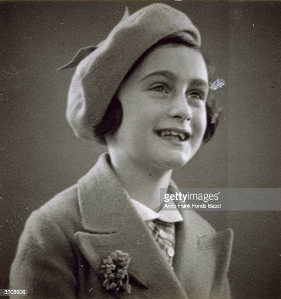 EXCLUSIVE Passport photo of Anne Frank wearing a beret taken from her photo album Amsterdam Holland