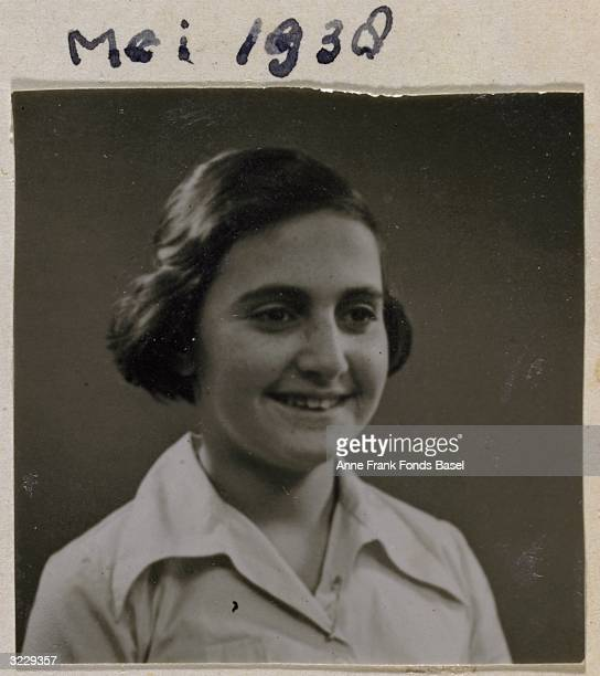 EXCLUSIVE Passport photo of Margot Frank wearing a white blouse taken from her sister Anne's photo album Amsterdam Holland