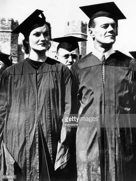 Doris Duke the 'world's richest woman' on campus with her husband James Cromwell dressed in cap and gown in the first day ceremony of Durham...