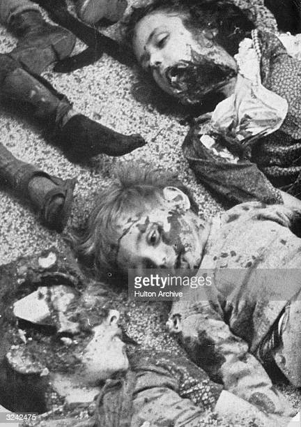 Child victims of the May 10 1940 'friendly fire' daylight bombing of Freiburg Germany Luftwaffe aircraft set out to attack Dijon France but became...
