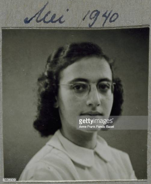 EXCLUSIVE A headshot of Margot Frank the sister of Anne Frank wearing glasses From Anne Frank's photo album