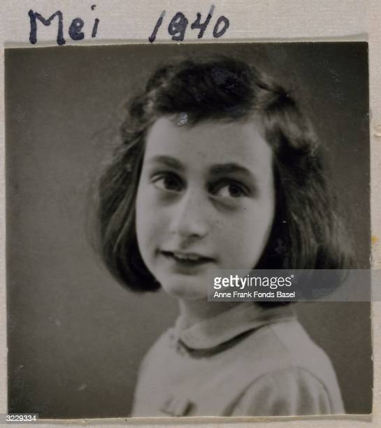 EXCLUSIVE Passport photo of Anne Frank looking to her left taken from her photo album Amsterdam Holland