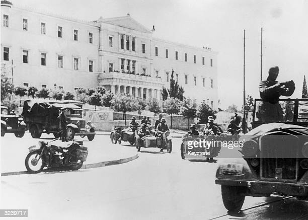 German mechanised troops outside the Greek government buildings in Athens during the early stages of the German occupation of Greece.