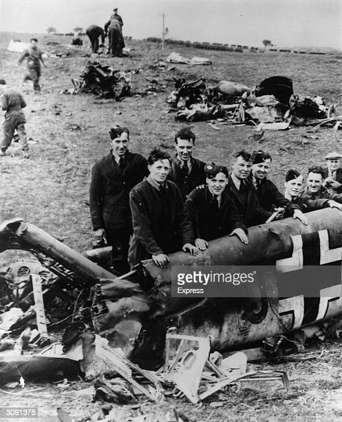 The debris of the Messerschmitt ME110 from which Rudolf Hess bailed out over Eaglesham on his historic lone flight to Scotland to plead for an...