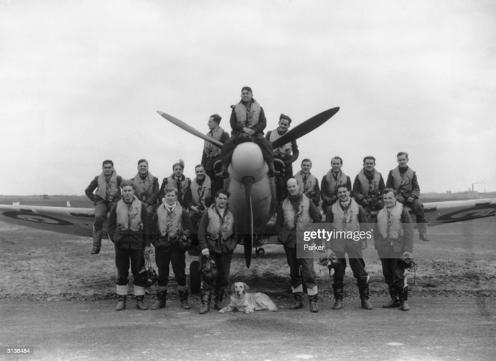 The pilots of a World War II British fighter squadron crowded around a spitfire with their canine mascot. This squadron have destroyed 73 enemy planes, and damaged 38 others.