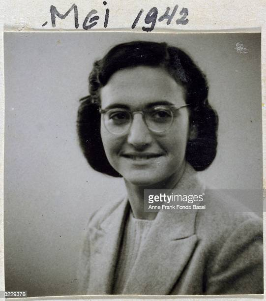 EXCLUSIVE Passport photo of Margot Frank wearing a wool blazer and eyeglasses taken from her sister Anne's photo album Amsterdam Holland