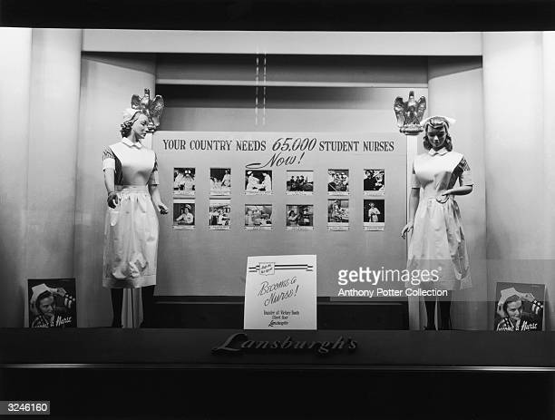 Office of War Information promotional window display calling for women to enlist in the U.S. Military as student nurses, Lansburgh's department...
