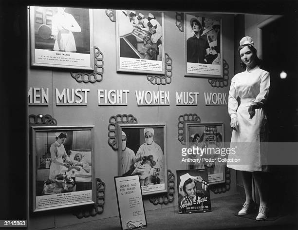 Posters of the U.S. Office of War Information calling for women to enroll as student nurses in the military, Lansburgh's department store,...