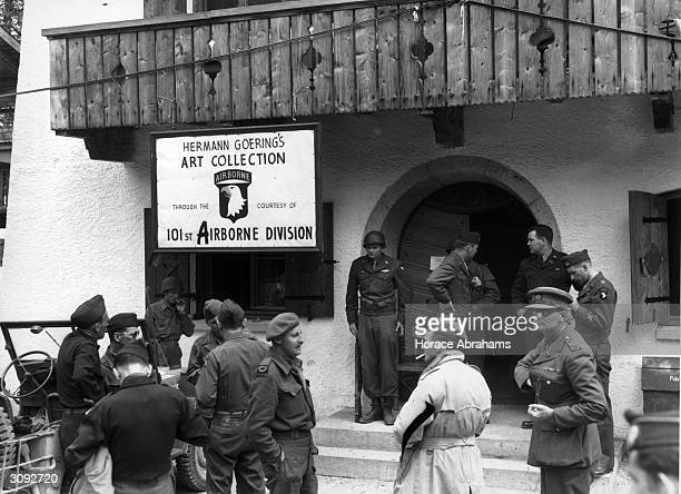 The entrance to the former Luftwaffe headquarters at Konigsee where Hermann Goering's loot has been put out on display by the soldiers of the...