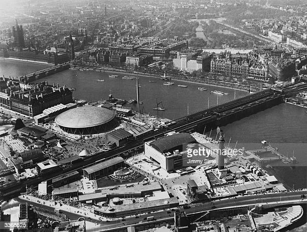 The Royal Festival Hall and other specially erected buildings at the site of the Festival of Britain on the South Bank of the River Thames London The...