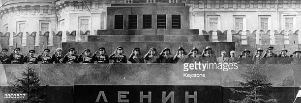 Russian communist leaders led by Joseph Stalin saluting the May Day Parade in Red Square Moscow