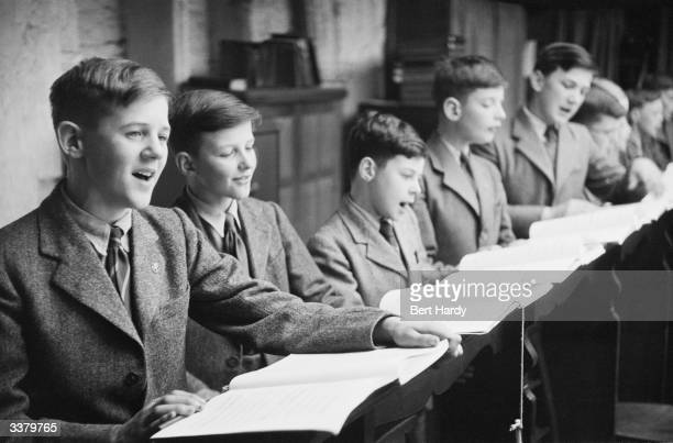 The choirboys of Westminster Abbey rehearsing for the forthcoming coronation service of Queen Elizabeth II Original Publication Picture Post 6533...