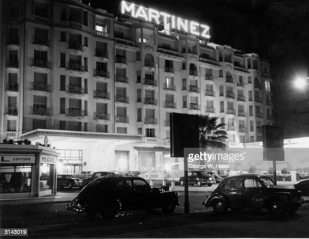 A night view of the Martinez Hotel in Cannes