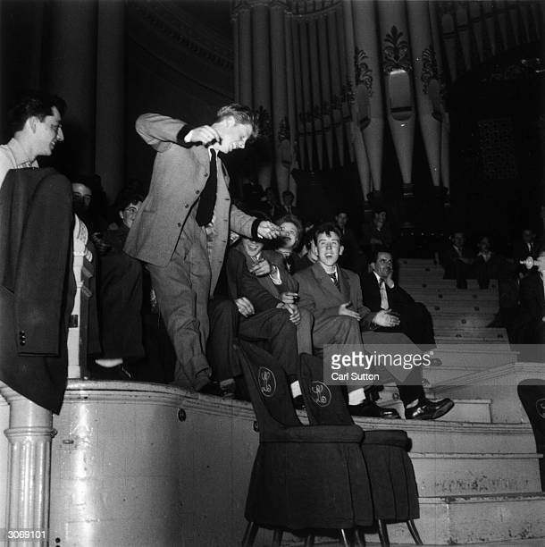 A Teddy boy jiving at a jazz and hot gospel concert in Leeds town hall