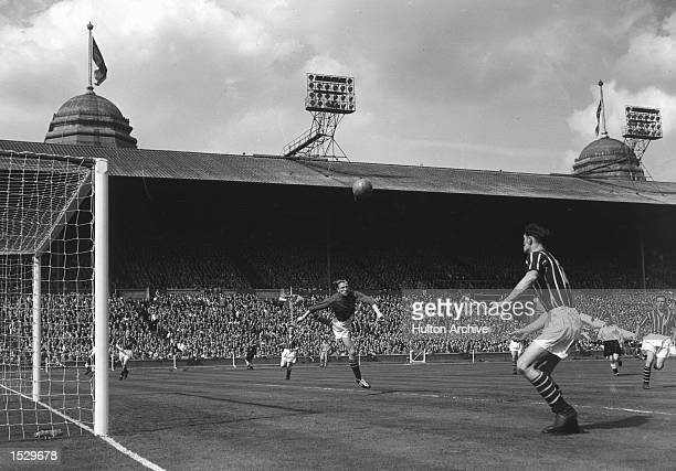 FA Cup Final Birmingham City v Manchester City Bert Trautmann former German paratrooper makes another save during Manchester City's victory After the...