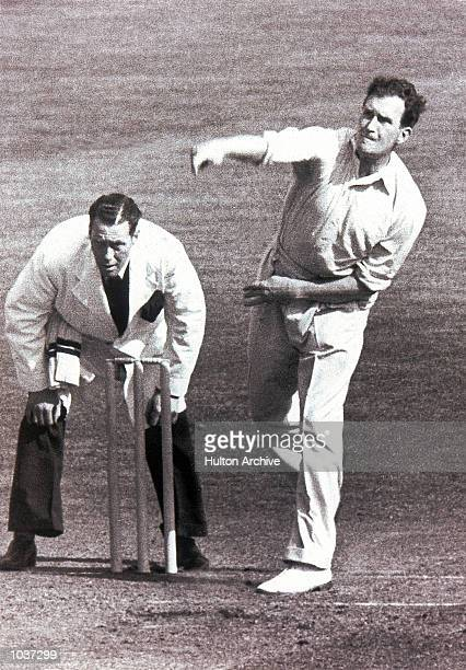 Jim Laker of Surrey and England in action during the match for Surrey against Australia played at the Oval in London Mandatory Credit Allsport...