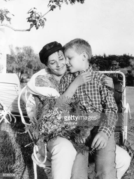 French actress Jeanne Moreau with her son Jerome during a visit to the South of France for the Cannes Film Festival