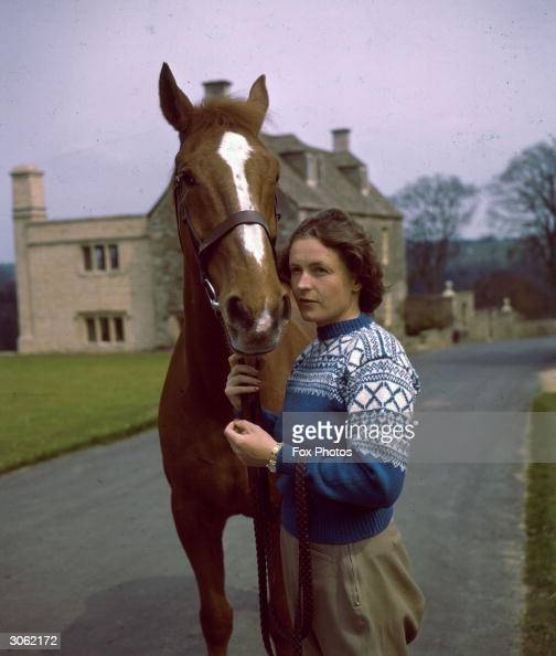 Swiss Born Showjumper Pat Smythe Outside Her Home At