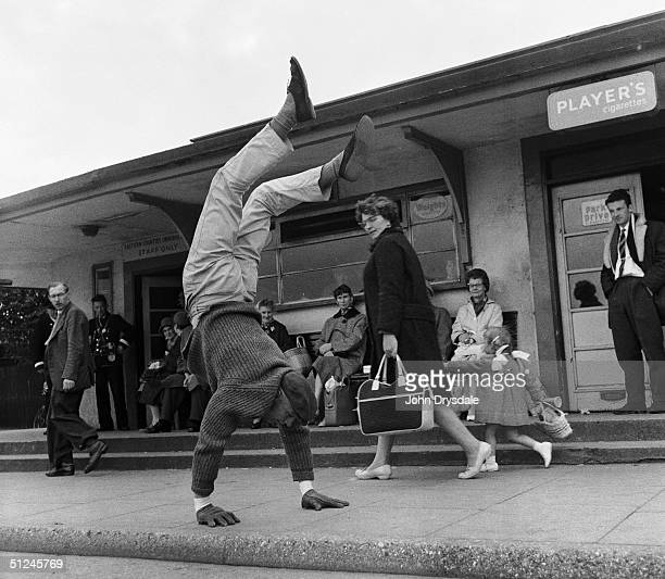 May 1963 Mr Walter Cornelius from Peterborough continues to develop his balancing skills whilst training for the 50 Mile New Frontier Walk He intends...