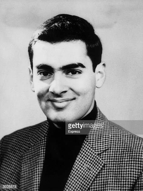 Studio headshot portrait of Rajiv Gandhi son of Indian prime minister Indira Gandhi while he was a student at Cambridge University England