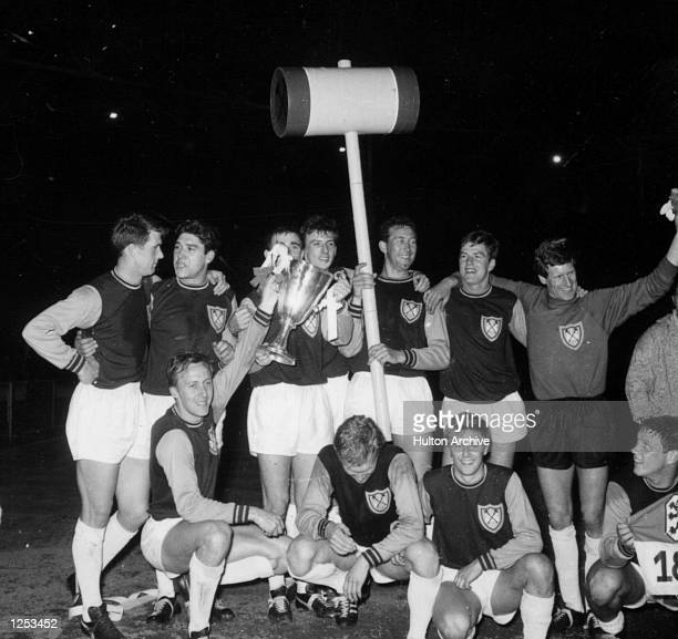 West Ham win the European Cup Winners Cup at Wembley after beating TSV Munich with 2 goals from Alan Sealey . Mandatory Credit: Allsport...