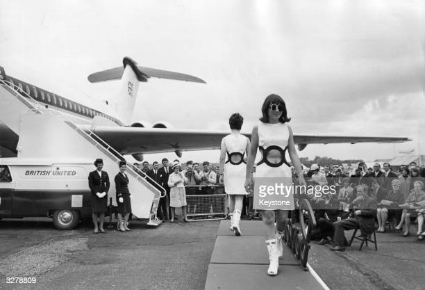 British Summer Fashion Show held at Biggin Hill International Air Fair, the airline hostess models used a British United Vickers VC 10 airliner as...