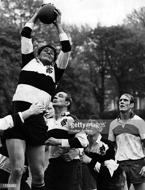 Bill Morris of Newport and Wales leaps high in the Barbarians'' final training session before leaving for their South African tour Geoff Bayliss is...