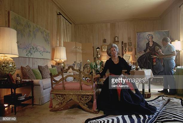 Dyzy or Dysie Davie wife of T Bedford Davie having her portrait painted at home in Palm Beach Florida