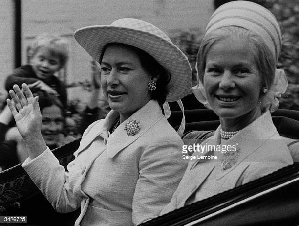 Princess Margaret and the Duchess of Kent on their way to the races at Ascot