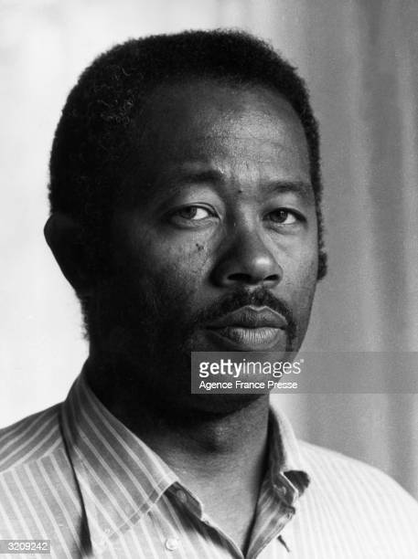 Headshot portrait of author and political activist Eldridge Cleaver former leader of the Black Panthers Paris France