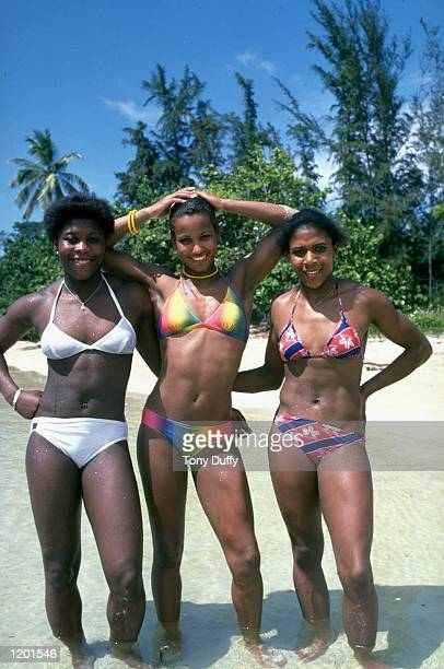 Tessa Sanderson Sharon Colyear and Sonia Lannaman of Great Britain relax on a beach in Jamaica Mandatory Credit Tony Duffy/Allsport