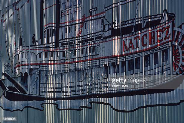 A translucent curtain painting showing a Mississippi paddle boat the 'Natchez'