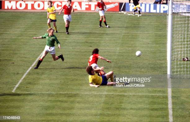 12 May 1979 FA Cup Final Arsenal v Manchester United United goalkeeper Gary Bailey fails to reach a cross by Graham Rix and Alan Sunderland arrives...