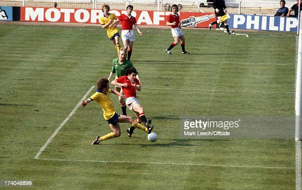 12 May 1979 FA Cup Final Arsenal v Manchester United Winning goal for Arsenal scored by Alan Sunderland who gets to the ball before United defender...