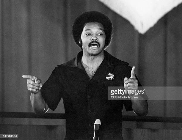 May 1979 Reverend Jesse Jackson guest starring as himself delivers a speach in a ghetto high school in a still from the television program 'Lou Grant'