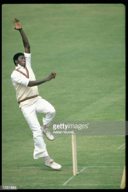 Joel Garner of the West Indies bowling against England during the one day international at Lords in London Mandatory Credit Adrian Murrell/Allsport