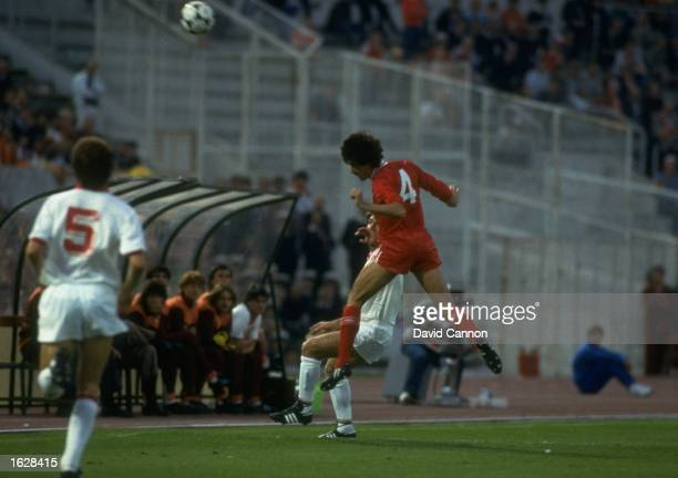 Mark Lawrenson of Liverpool heads the ball during the European Cup Final against A S Roma at the Olympic Stadium in Rome The match ended in a 11 draw...