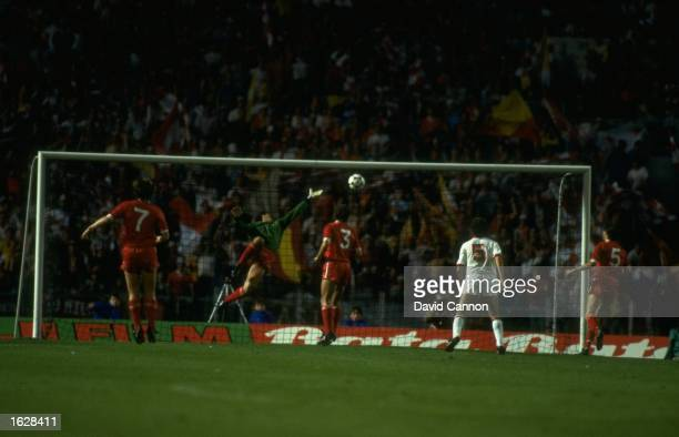 Pruzzo of A S Roma beats Bruce Grobbelaar Liverpool's goalkeeper to score during the European Cup Final at the Olympic Stadium in Rome The match...