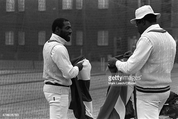 May 1984 West Indies touring cricket squad at Lord's for practice, Viv Richards and Clive Lloyd prepare for a net.