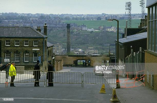 General view of a fire damaged wall from a street outside the ground in the wake of the disaster at Bradford City Football Club in Bradford, England....