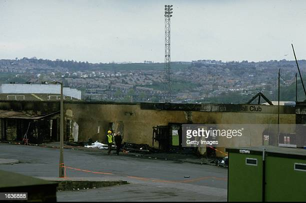 General view of a fire damaged wall outside the ground in the wake of the disaster at Bradford City Football Club in Bradford, England. \ Mandatory...