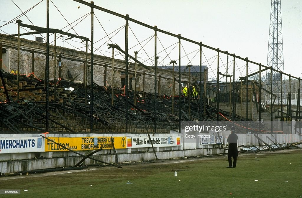 A general view of the burnt out stands in the wake of the disaster at the Bradford City ground in Bradford, England. \ Mandatory Credit: Allsport UK /Allsport