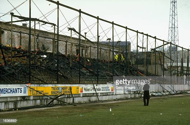 A general view of the burnt out stands in the wake of the disaster at the Bradford City ground in Bradford England Mandatory Credit Allsport UK...