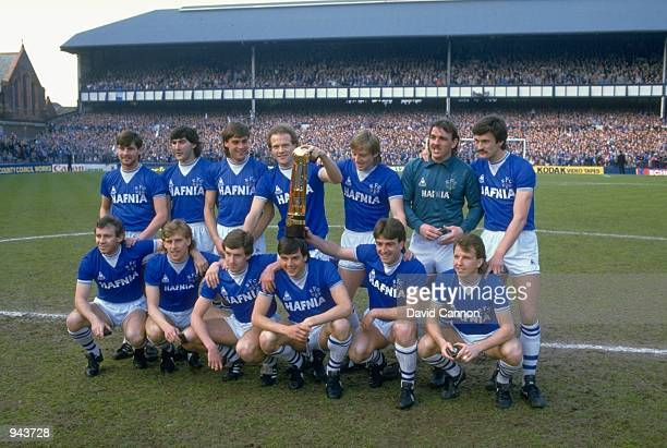 A group photograph of the Everton team with the League trophy after a Canon League Division One match against West Ham United at Goodison Park in...
