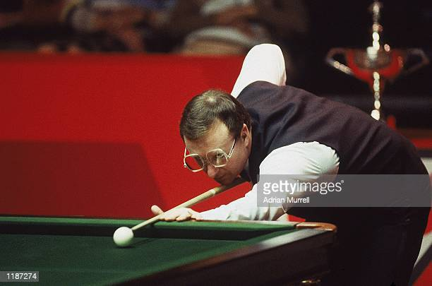 Dennis Taylor of Northern Ireland in action during the Embassy World Snooker Championship Final at the Crucible Theatre in Sheffield England Taylor...