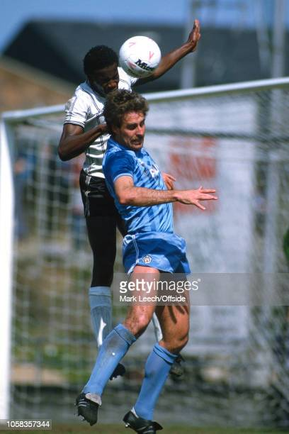 6 May 1985 Football League Division One Notts County v Manchester City Mick McCarthy of Man City is outjumped by Justin Fashanu of Notts County
