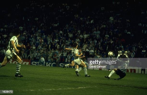 Kevin Sheedy scores the third goal for Everton during the European Cup Winners Cup Final against Rapid Vienna at the Feyenoord Stadium in Rotterdam...