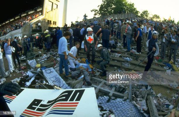 The aftermath of the crowd riots during the European Cup Final between Juventus and Liverpool at the Heysel Stadium in Brussels, Belgium. Juventus...