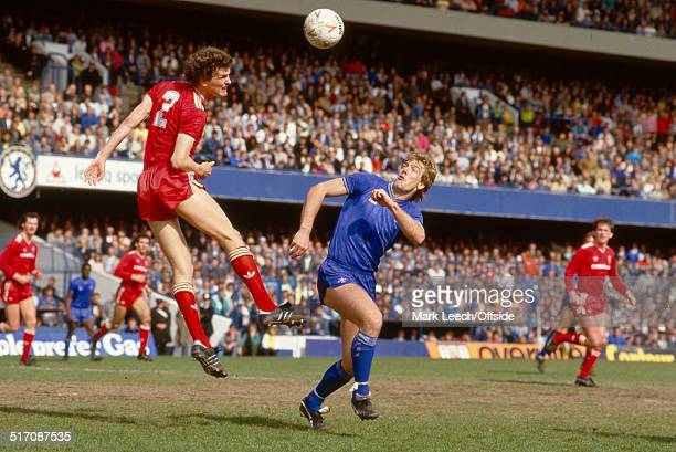 May 1986 - Football League Division One - Chelsea v Liverpool - Kerry Dixon of Chelsea looks up as Gary Gillespie of Liverpool heads the ball.