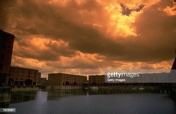 General view at dusk of the Albert Dock development in Liverpool England Mandatory Credit Allsport UK /Allsport